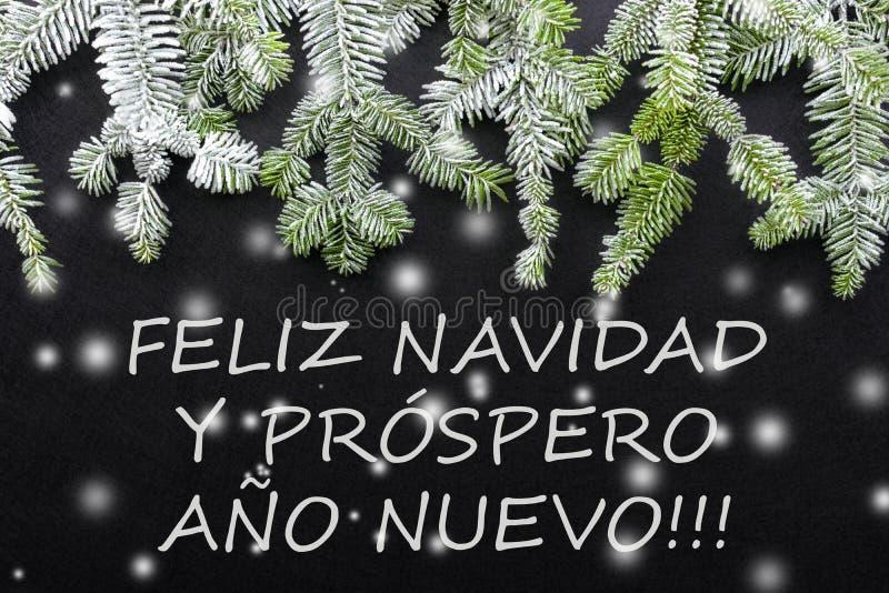 杉树和雪在黑暗的背景 问候圣诞卡 明信片 christmastime 红色白色和绿色 库存例证
