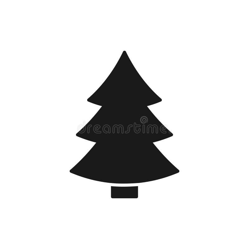 杉树黑被隔绝的象在白色背景的 圣诞树剪影 平的设计 库存例证