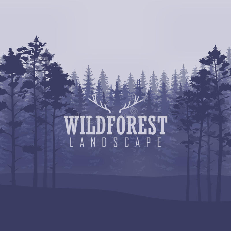杉树,风景自然,木自然全景 室外野营的设计模板 也corel凹道例证向量 库存图片