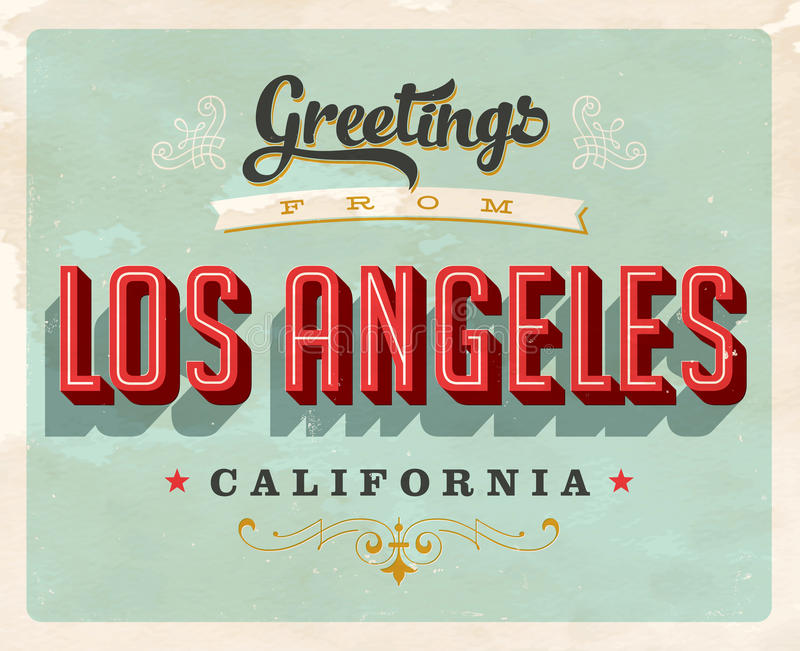 从洛杉矶假期卡片的葡萄酒问候 向量例证
