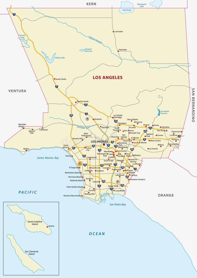 洛杉矶县地图 库存例证