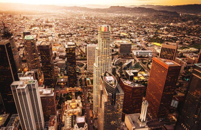 洛杉矶地平线鸟瞰图 免版税图库摄影