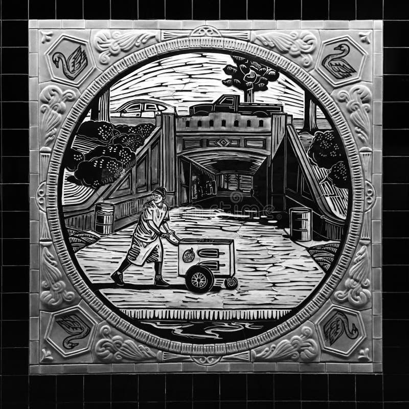 洛杉矶地铁艺术推挤推车冰淇凌人 库存照片