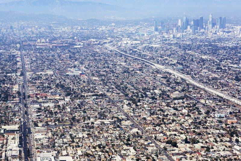 洛杉矶鸟瞰图在美国 免版税库存照片