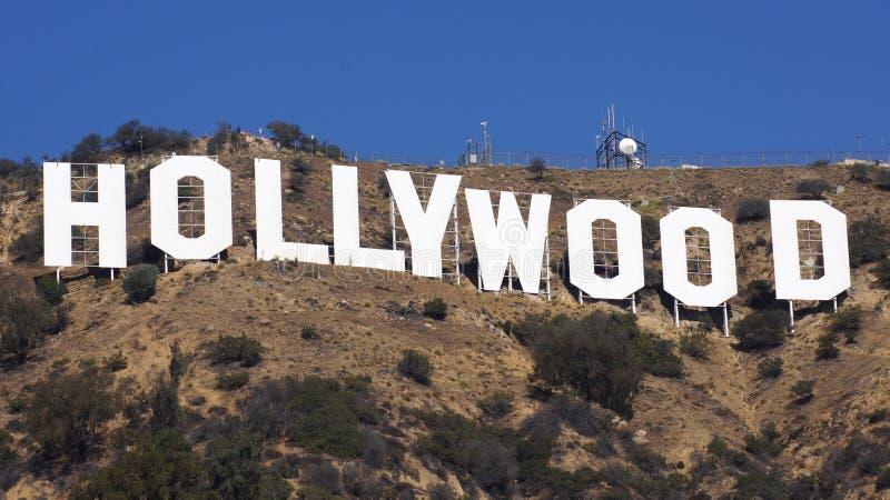 洛杉矶,加利福尼亚- 2014年10月11日:举世闻名的地标好莱坞标志 它被创造了作为广告 免版税图库摄影