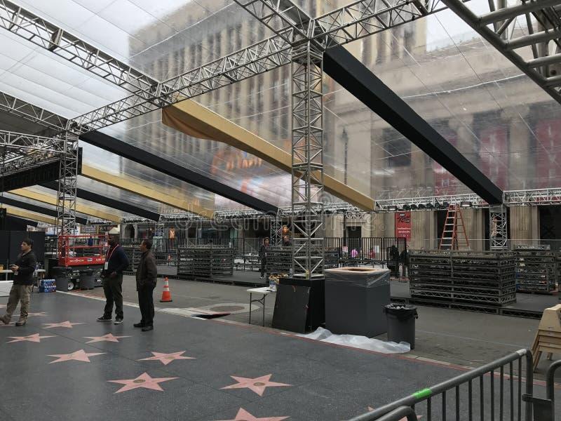 洛杉矶- 2月21 :在杜比剧院的奥斯卡准备, 2017年在好莱坞,洛杉矶,加利福尼亚 图库摄影