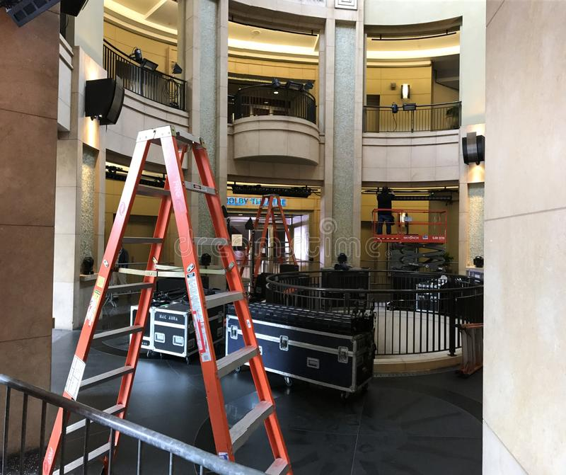 洛杉矶- 2月21 :在杜比剧院的奥斯卡准备, 2017年在好莱坞,洛杉矶,加利福尼亚 库存图片