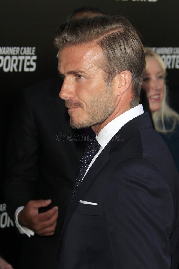 大卫Beckham到达,在华纳TWC Sportsnet时候体育发射  免版税库存图片