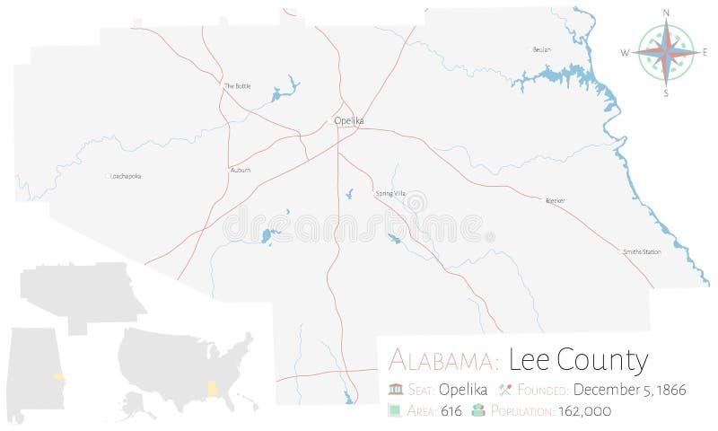 李县地图在阿拉巴马 库存例证