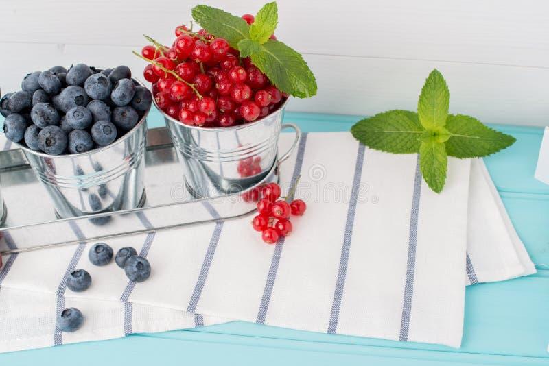 李子、红浆果和蓝莓在小金属用桶提 库存照片