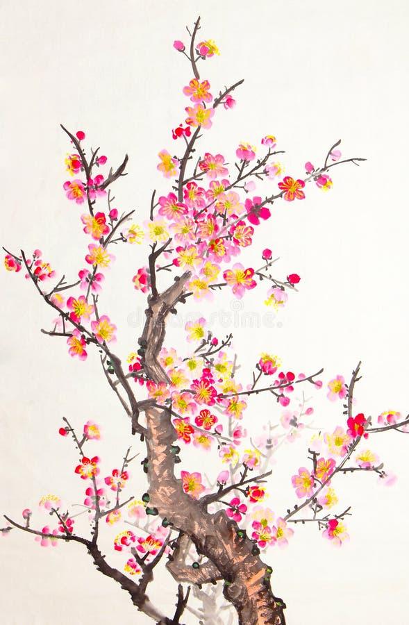 绘李子的开花中国花 图库摄影