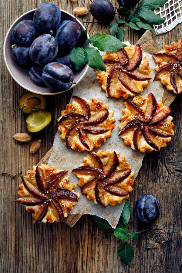 李子馅饼用在木桌、可口点心用油酥点心和果子上的桂香 库存图片
