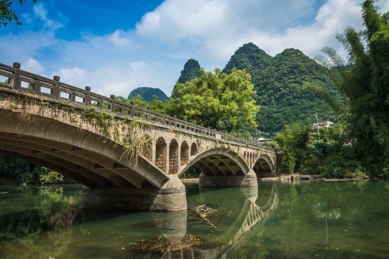 李河漓江 在码头的游船在兴平 免版税库存照片