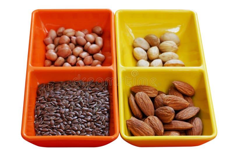 杏仁干燥亚麻花生开心果种子 免版税库存照片
