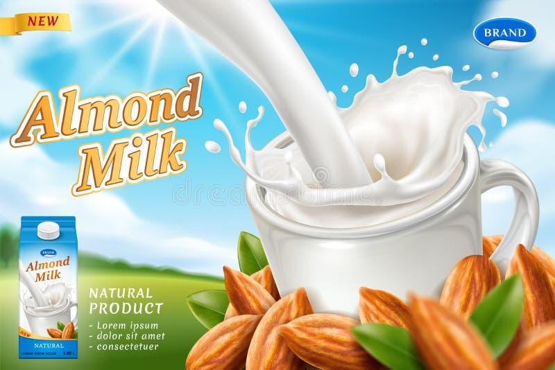 杏仁牛奶或素食主义者饮料的成套设计 库存例证