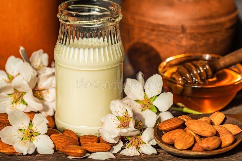 杏仁用杏仁牛奶、蜂蜜和白花 免版税库存照片