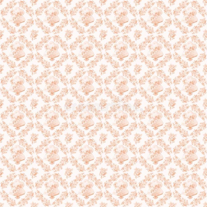 杏子桃红色古色古香的花圈玫瑰和爱好者重复背景 图库摄影