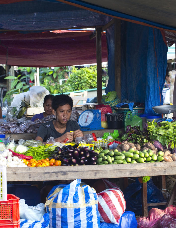 村庄亚洲人市场 库存照片