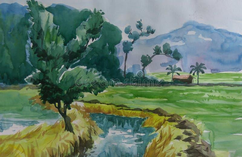 村庄从亚洲的农场土地 免版税图库摄影