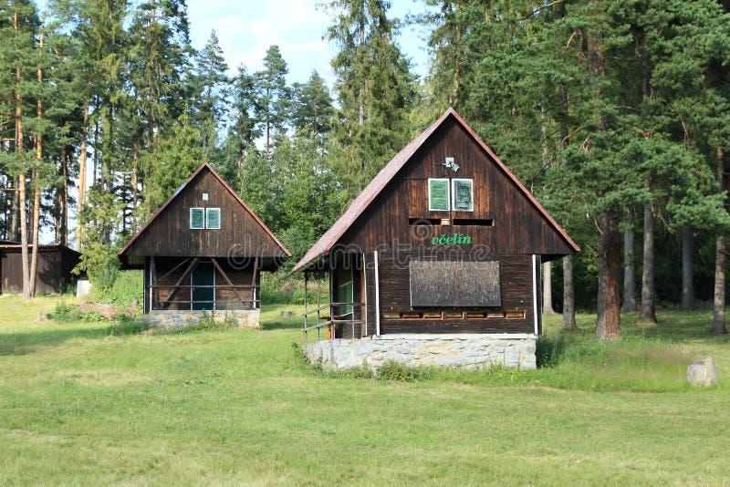 村庄和蜂箱在斯洛伐克天堂 库存图片