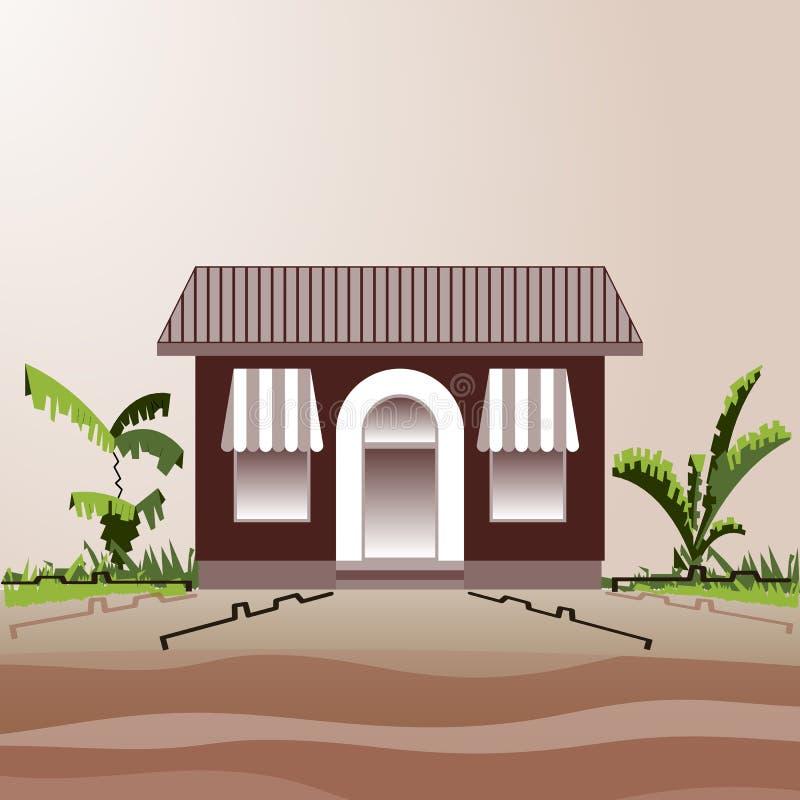 村庄商店或咖啡馆在路和灌木旁边 库存例证
