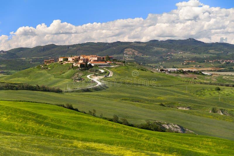 村庄在克利特Senesi,托斯卡纳,意大利 免版税库存图片