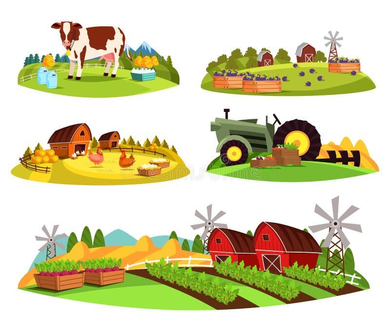 村庄在庭院和谷仓的乡下视图 库存例证