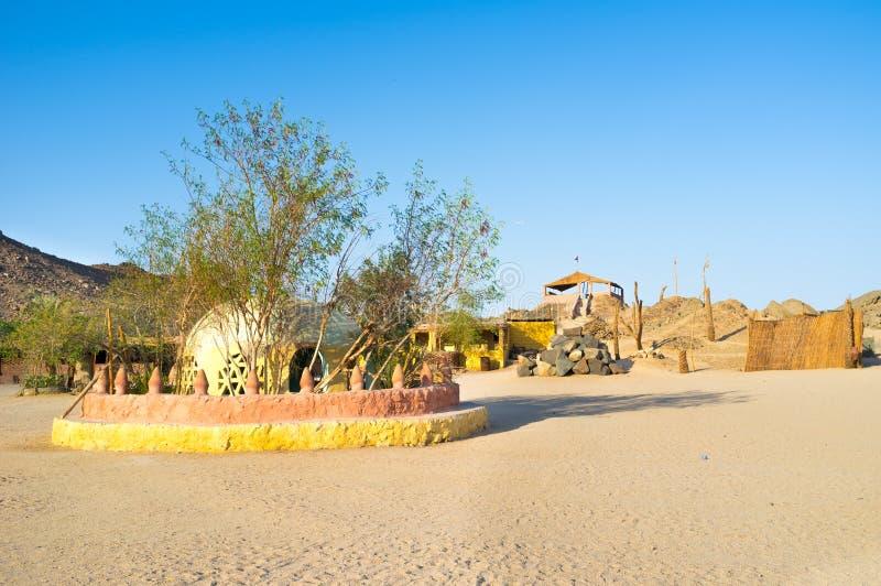 村庄在沙漠 免版税库存照片