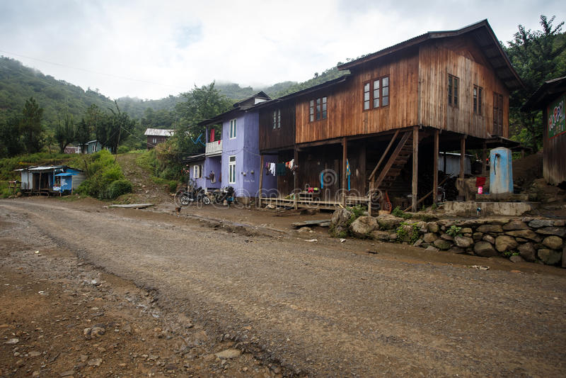 村庄在钦邦,缅甸 免版税库存图片