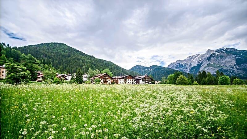 村庄在阿尔卑斯,意大利 免版税库存图片