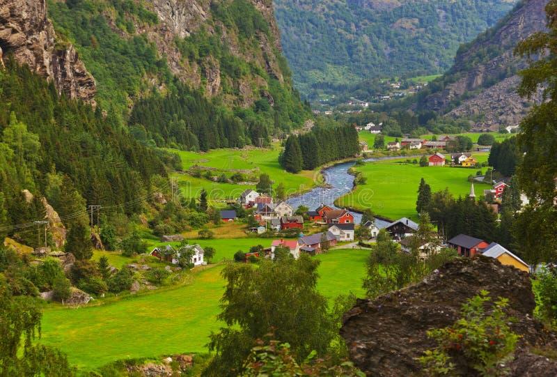 村庄在Flam -挪威 库存照片