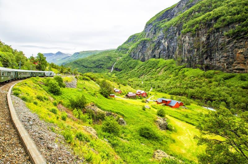 村庄在Flam 挪威 免版税库存照片