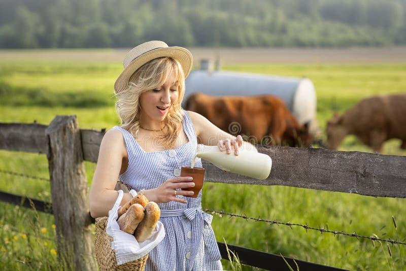 村庄女孩倾吐的牛奶到一块玻璃里,在领域背景与吃草母牛的 夏天农村生活在德国 图库摄影