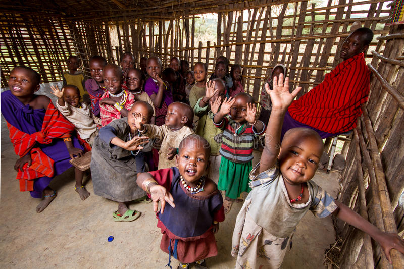 村庄学校在非洲 免版税库存照片