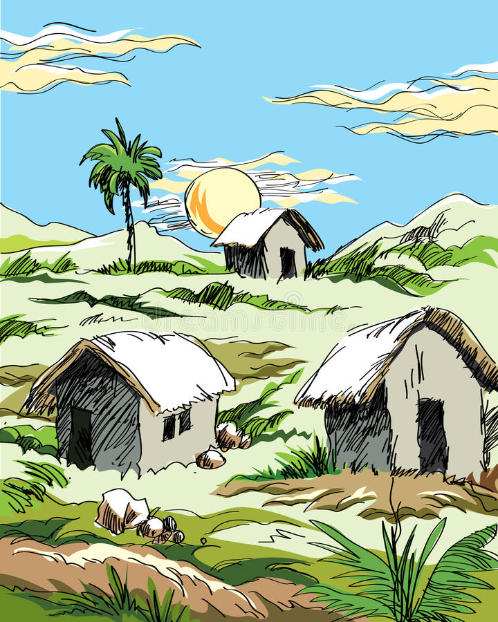村庄小屋和日落 向量例证