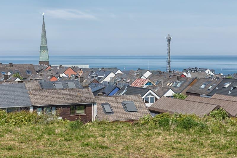 村庄德国海岛Helgoland鸟瞰图屋顶  库存图片