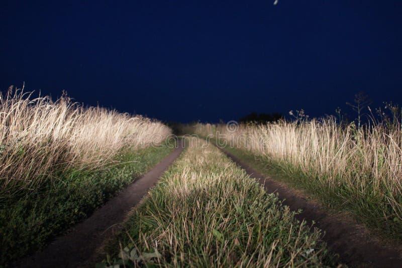 村庄路在晚上 免版税库存照片