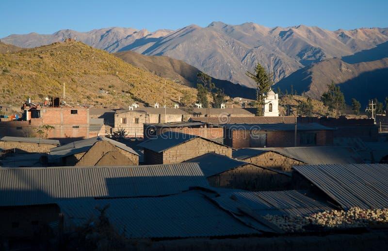 村庄Cabanaconde,峡谷Colca,秘鲁 免版税库存照片