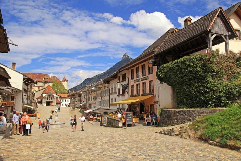 村庄Gruyeres,瑞士 库存照片