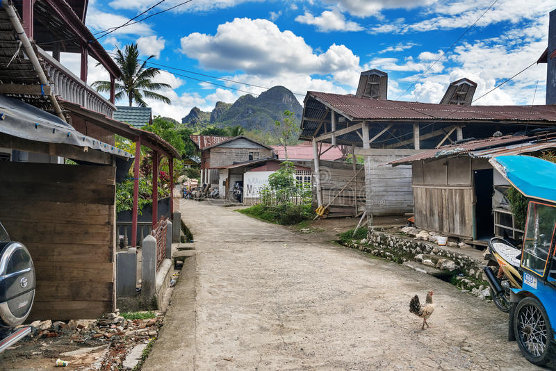 村庄Karasik在塔娜Toraja,南苏拉威西岛 印度尼西亚 库存照片