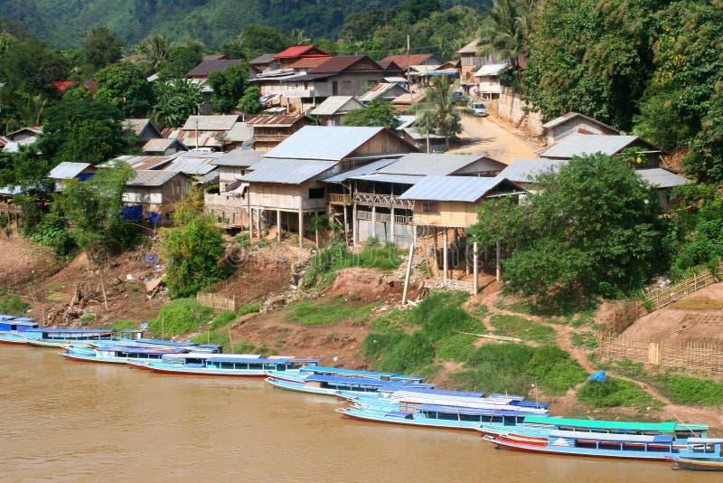 村庄Nong Kiaw在老挝 免版税库存图片
