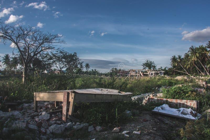 村庄Petobo丢失了对地球 库存图片