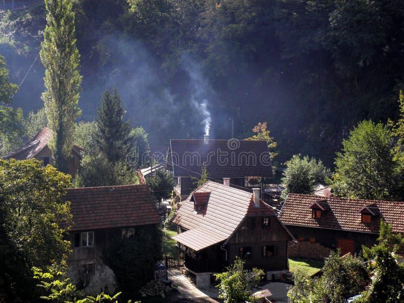 村庄Rastoke克罗地亚 免版税库存照片