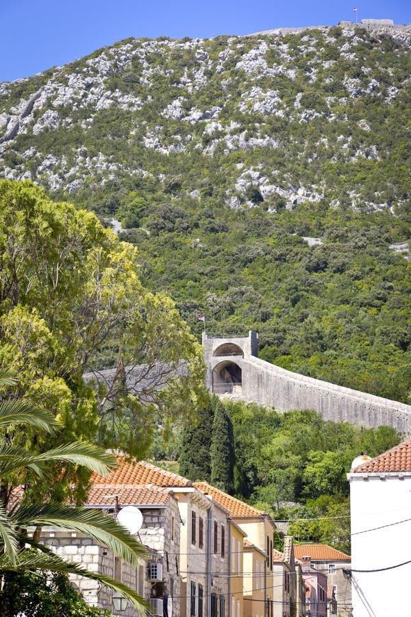 村庄Ston和墙壁,克罗地亚 库存图片