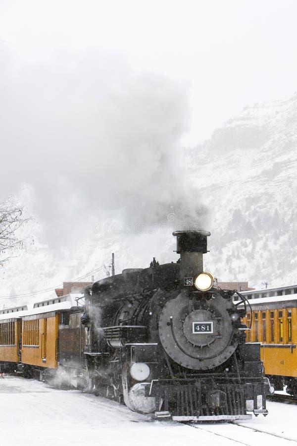 杜兰戈和希尔弗顿窄轨铁路公司,美国科罗拉多州 免版税库存图片