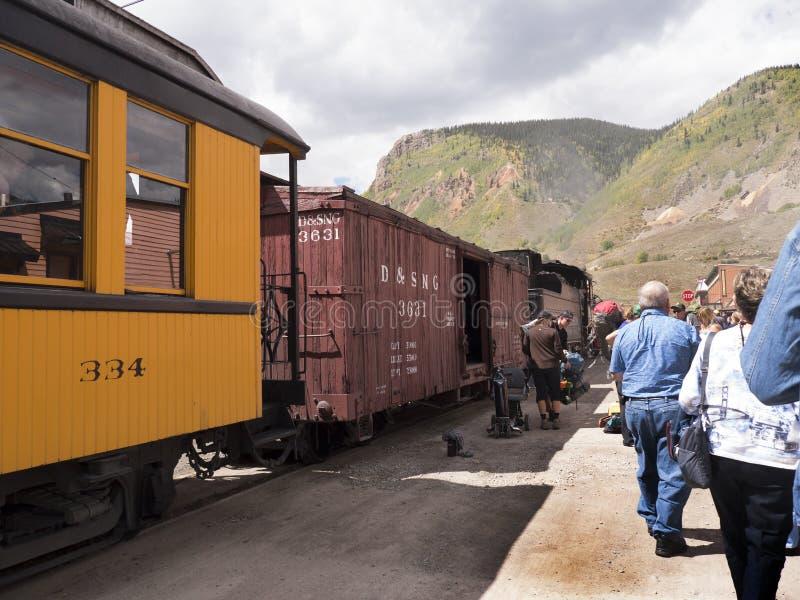 从杜兰戈的窄片铁路Silverton的在科罗拉多美国 库存图片