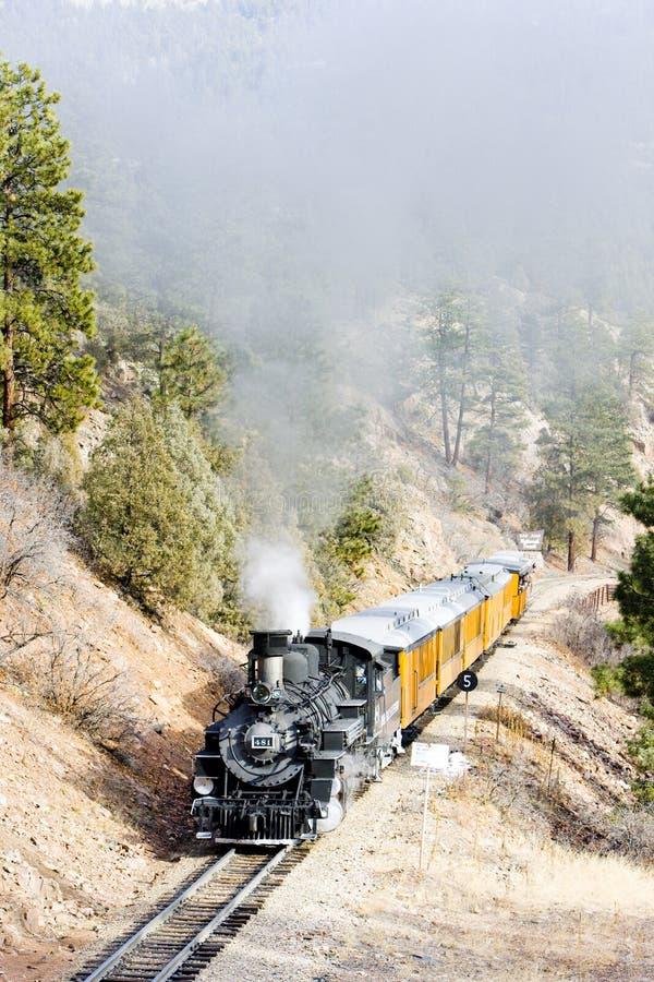 杜兰戈西尔弗顿窄轨铁路公司,美国科罗拉多州 免版税库存照片