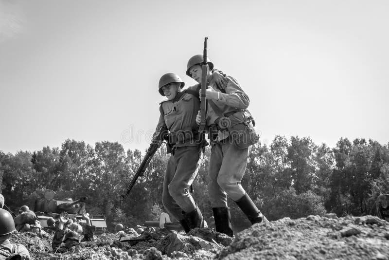 杜博谢科沃莫斯科oblast节日波兰人BOYA战场,8月7-9 2015 1941-1945,第二wor争斗的重建  库存照片