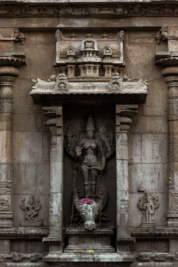 杜尔加Statue阁下-坦贾武尔大寺庙秀丽  库存照片
