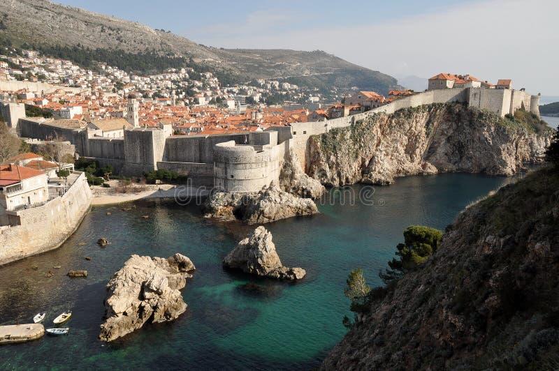 杜布罗夫尼克中世纪堡垒在克罗地亚 免版税库存照片